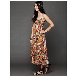 FREE PEOPLE ONE Criss Cross Floral Maxi Dress